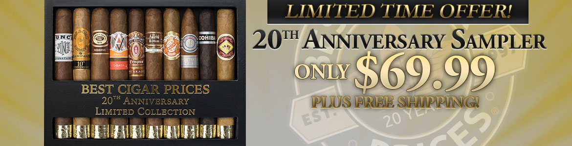 Free Shipping On Best Cigar Prices 20th Anniversary 10-Cigar Sampler!