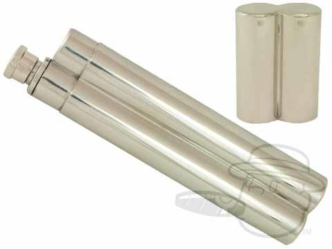 Chrome Cigar Travel Case with Flask