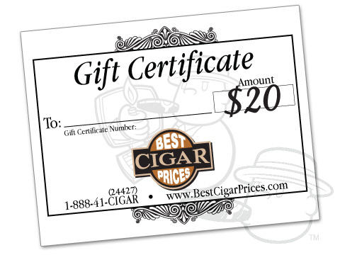 Best Cigar Prices Gift Certificate - $20 Toward Any Future Purchase