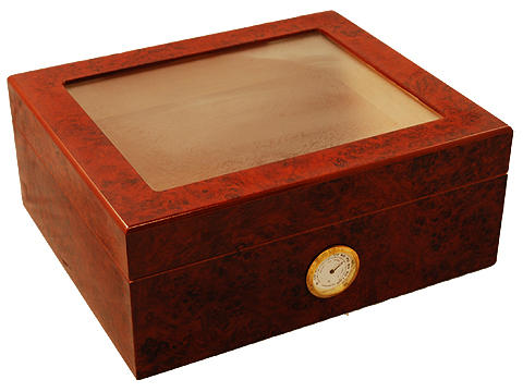 Monaco Burlwood 25 Count Humidor By Orleans