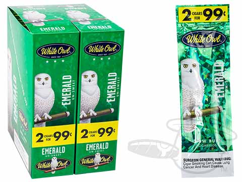 White Owl Cigarillos Emerald 2 For 99 Pre-Priced Upright