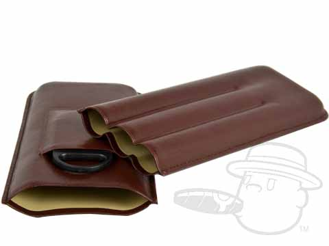 3-Finger Brown Leather Travel Case with Cutter