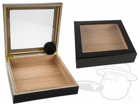 Black Glass Top 20 Count Humidor by Orleans