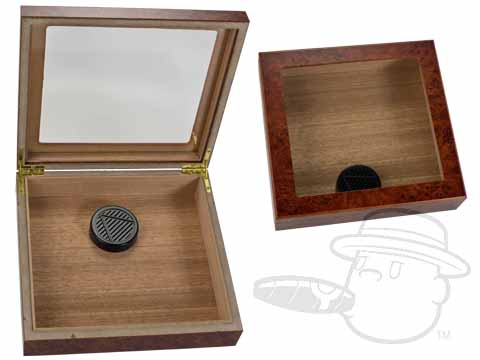 Burlwood Glass Top 15 Count Cedar Lined Humidor by Orleans