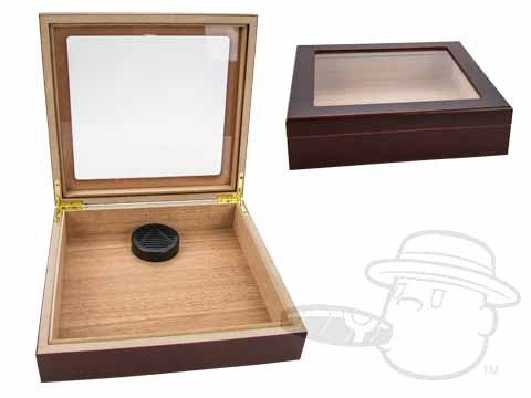 Cherry Wood Glass Top 15 Count Humidor By Orleans