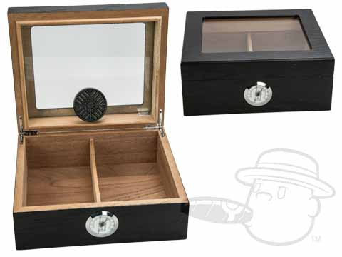 Capri Black Glasstop 50 Count Humidor By Quality