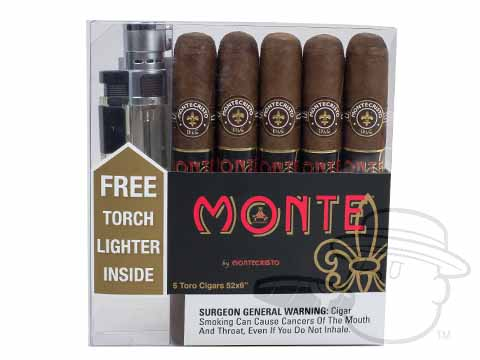 Monte By Montecristo Toro Lighter Gift Set Cigars with Lighter - 5 Total Cigars