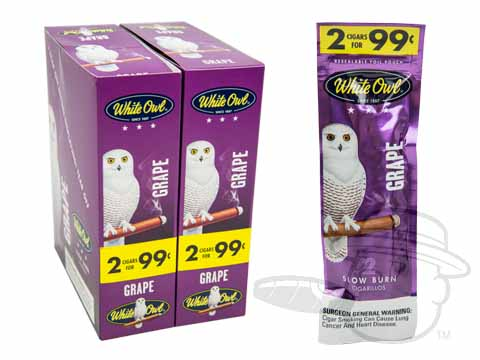 White Owl Cigarillos Grape 2 For 99 Pre-Priced Upright