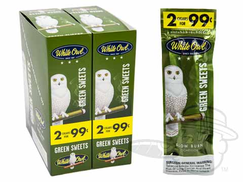 White Owl Cigarillos Green Sweets 2 For 99 Pre-Priced Upright