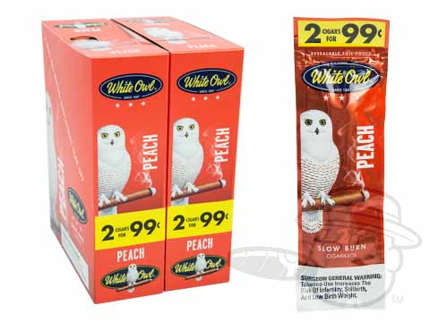 White Owl Cigarillos Peach 2 For 99 Pre-Priced Upright