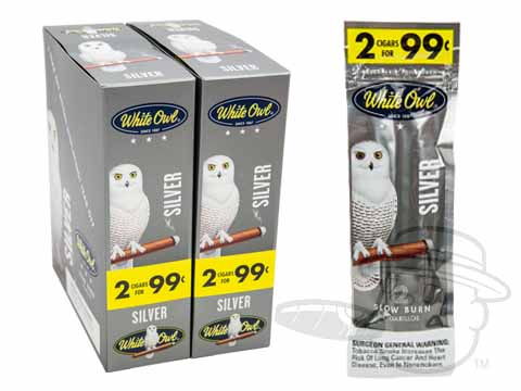 White Owl Cigarillos Silver 2 For 99 Pre-Priced Upright